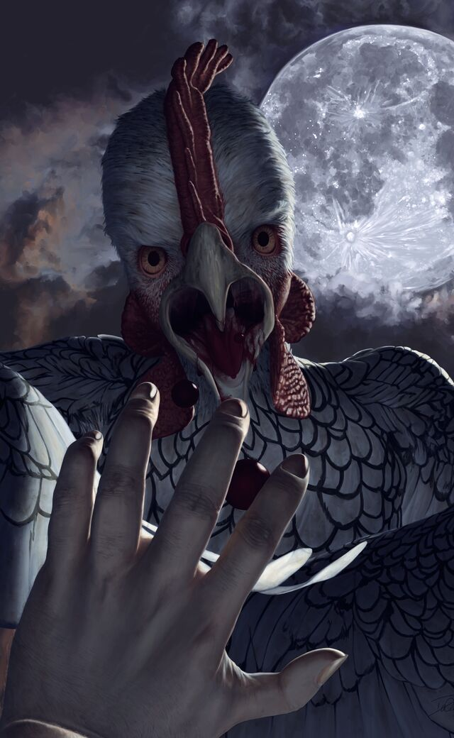 Digital painting of a werechicken about to eat its victim, the victim's hand outstretched in the extreme foreground