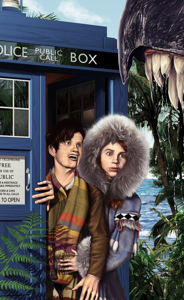 Digital painting of the 11th Doctor and Amy Pond exiting the TARDIS right into the jaws of a giant T-Rex-like creature