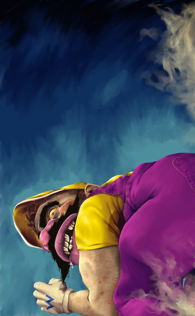 Digital painting of Wario letting out quite the putrid fart