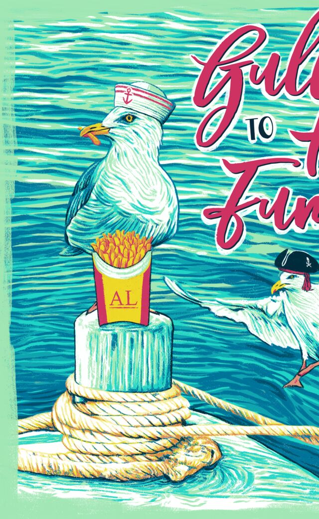Stylized illustration of two seagulls fighting over french fries; one is a sailor and the other a pirate