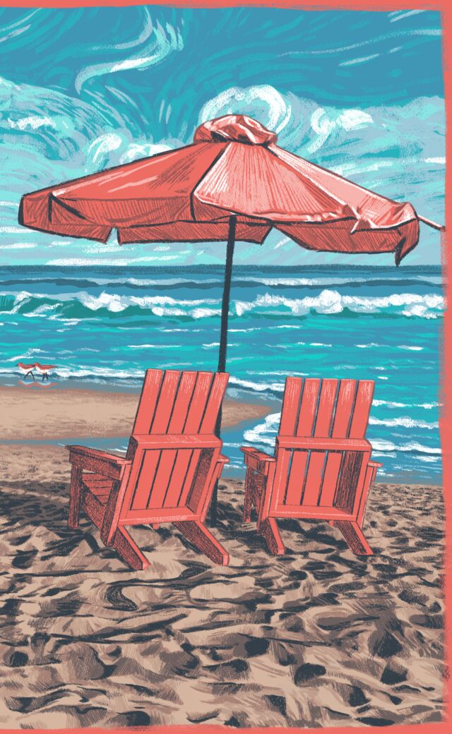 Illustration beach chairs and umbrella on a tranquil beach