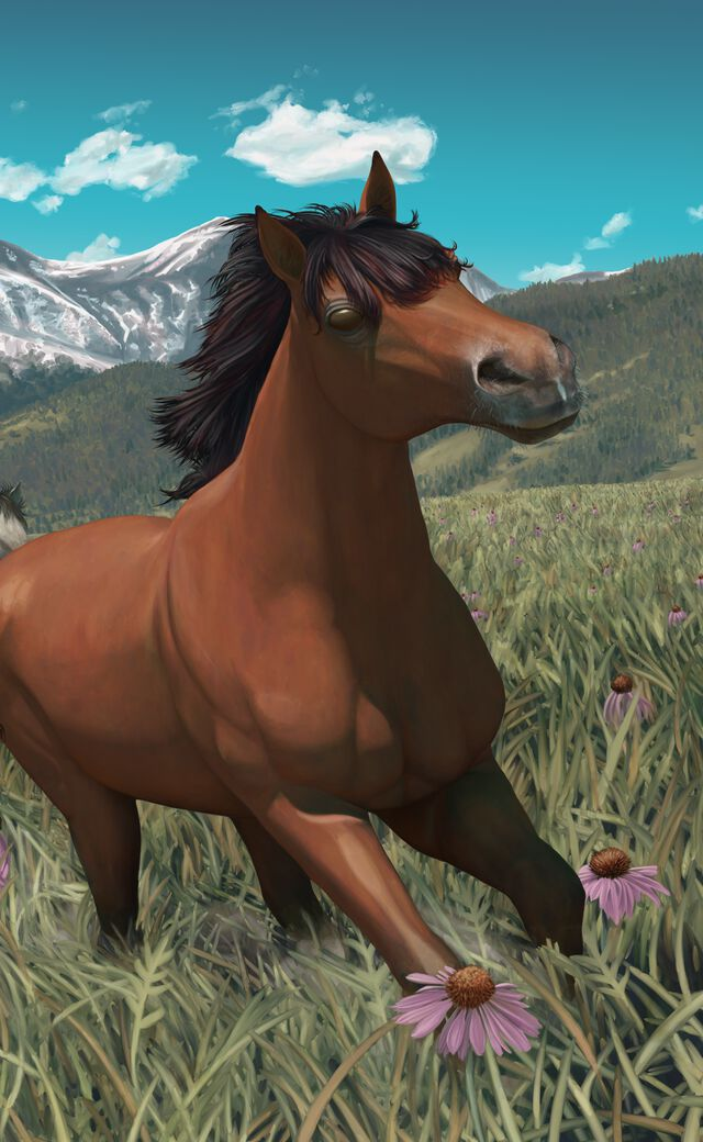 Digital painting of a group of horses galloping through the American prairie