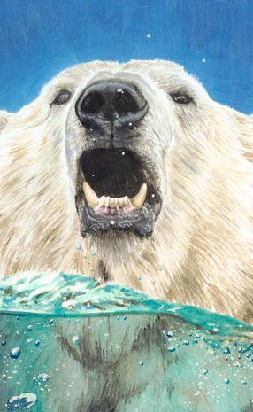 Casein painting of a polar bear sticking its head out of the water